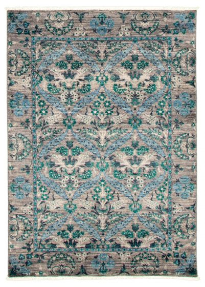 Bordered  Transitional Grey Area rug 3x5 Pakistani Hand-knotted 342120