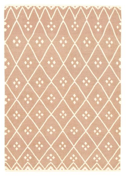 Flat-weaves & Kilims  Transitional Ivory Area rug 3x5 Indian Flat-weave 344472