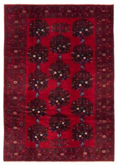 Bordered  Tribal Red Area rug 6x9 Afghan Hand-knotted 358213
