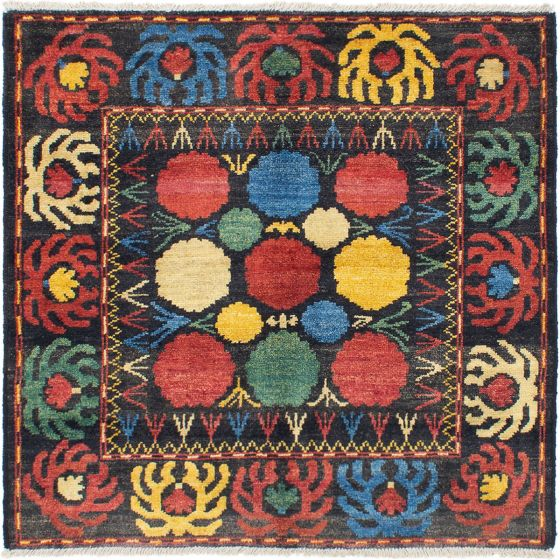 Casual  Transitional Black Area rug Square Indian Hand-knotted 286523