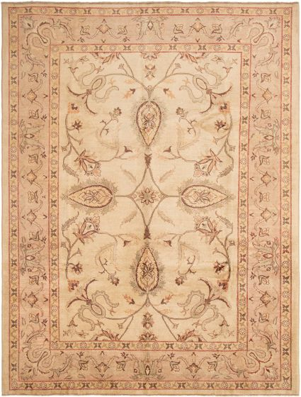 Bordered  Traditional Ivory Area rug 9x12 Afghan Hand-knotted 294020