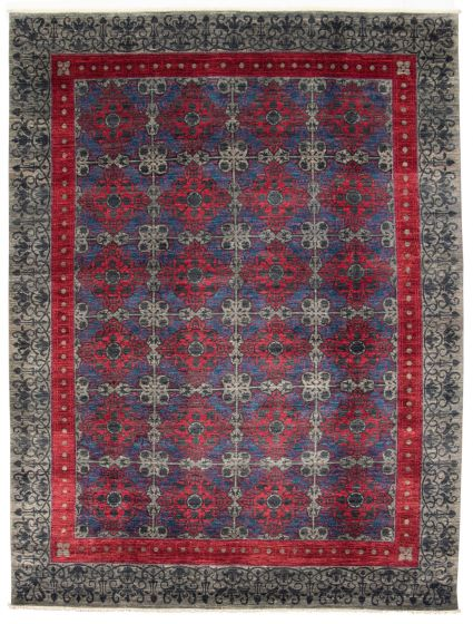 Bordered  Transitional Grey Area rug 9x12 Pakistani Hand-knotted 311035