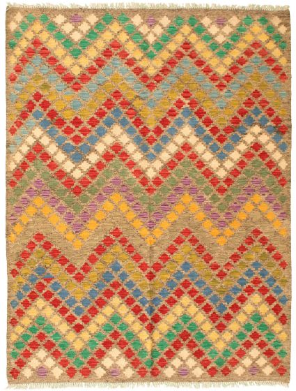 Flat-weaves & Kilims  Geometric Grey Area rug 4x6 Turkish Flat-weave 329977