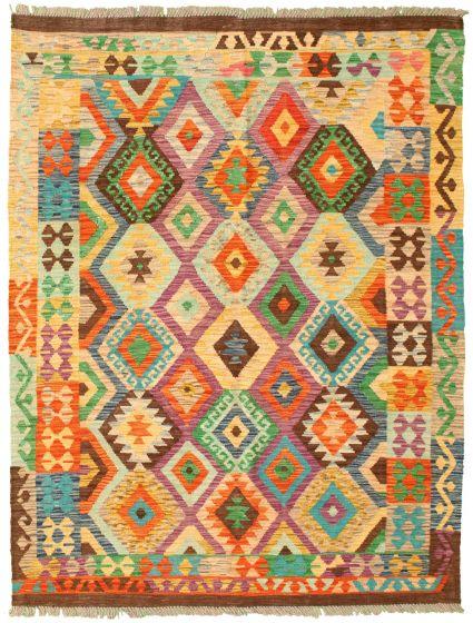 Bordered  Geometric Multi Area rug 4x6 Turkish Flat-weave 329982