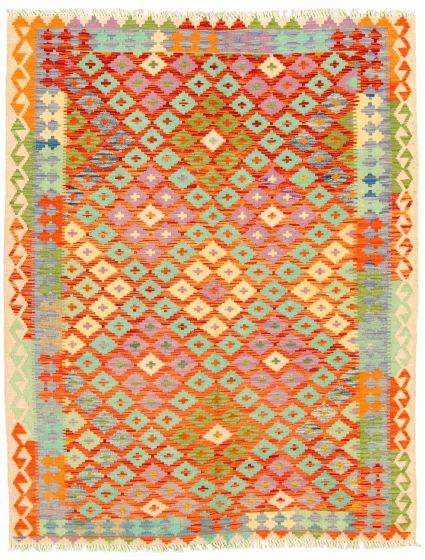Bordered  Geometric Multi Area rug 4x6 Turkish Flat-weave 330212