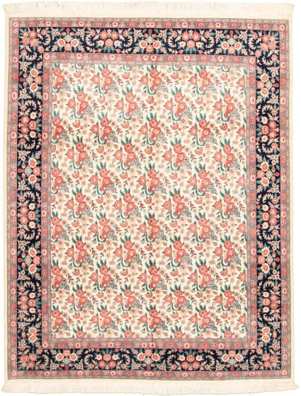 Bordered  Traditional Ivory Area rug 6x9 Pakistani Hand-knotted 330345