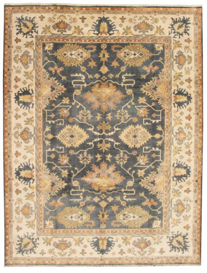 Bordered  Traditional Grey Area rug 9x12 Indian Hand-knotted 331301