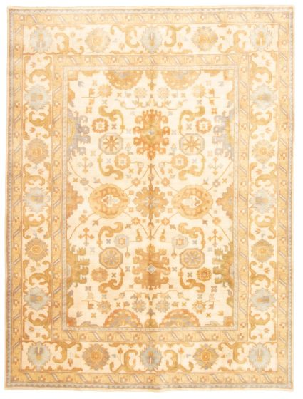 Bordered  Traditional Ivory Area rug 9x12 Indian Hand-knotted 331319