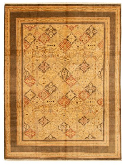 Bordered  Traditional Ivory Area rug 9x12 Pakistani Hand-knotted 337542
