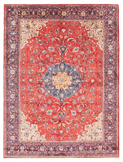 Bordered  Traditional Red Area rug 9x12 Persian Hand-knotted 366590