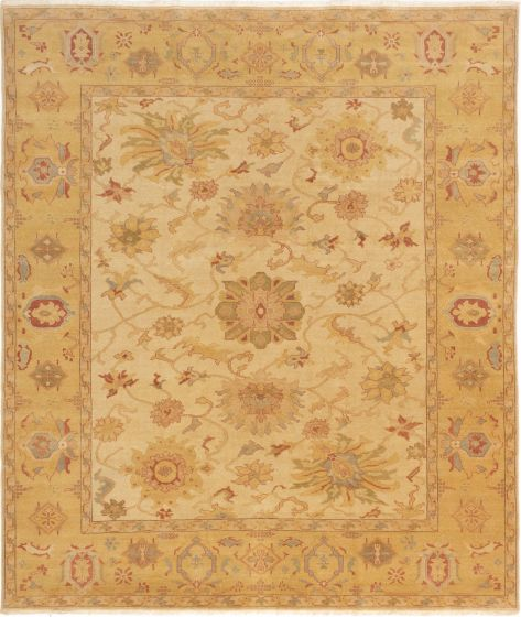 Bordered  Transitional Ivory Area rug 6x9 Turkish Hand-knotted 281087