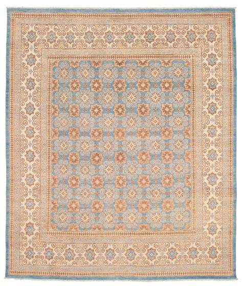Bordered  Traditional Blue Area rug 6x9 Pakistani Hand-knotted 338757