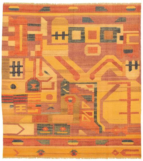 Casual  Flat-weaves & Kilims Brown Area rug 8x10 Turkish Flat-weave 336040