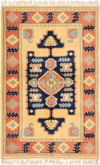 Bordered  Traditional Yellow Area rug 4x6 Turkish Hand-knotted 293831