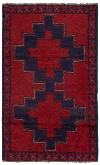 Bordered  Tribal Red Area rug 3x5 Afghan Hand-knotted 360582