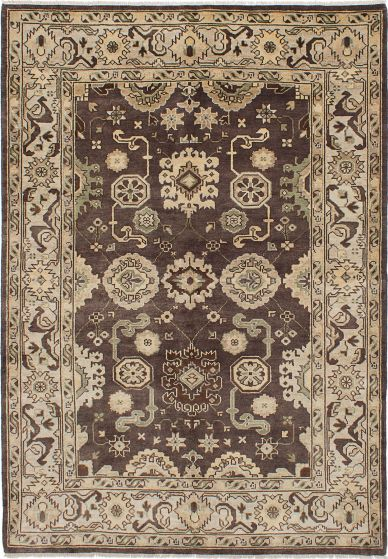 Traditional Brown Area rug 5x8 Indian Hand-knotted 228153