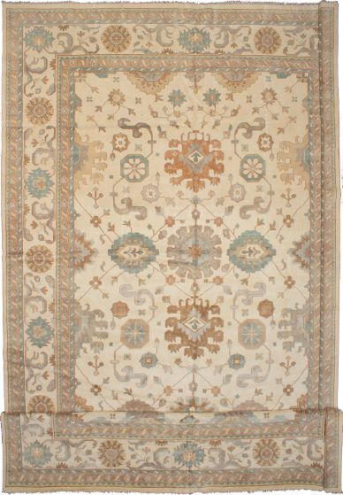 Bohemian  Traditional Ivory Area rug Oversize Indian Hand-knotted 271253