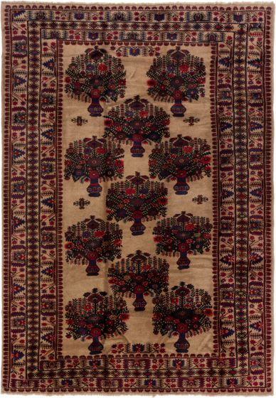 Bordered  Tribal Brown Area rug 6x9 Afghan Hand-knotted 280218