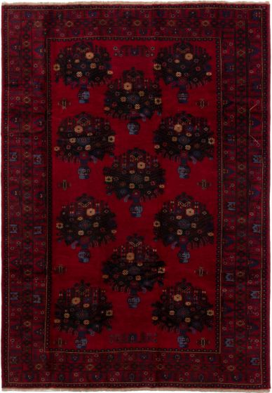 Bordered  Tribal Red Area rug 6x9 Afghan Hand-knotted 280223