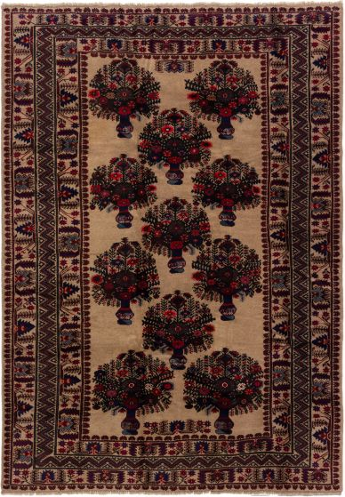 Bordered  Tribal Brown Area rug 6x9 Afghan Hand-knotted 280224