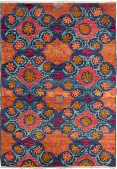 Casual  Transitional Blue Area rug 5x8 Indian Hand-knotted 280266