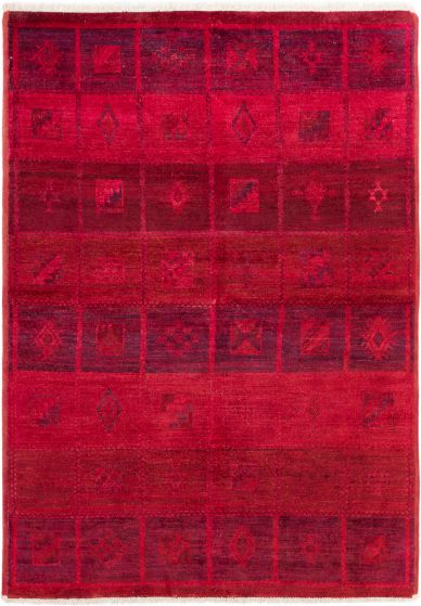 Casual  Transitional Red Area rug 5x8 Indian Hand-knotted 280615