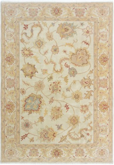 Bordered  Traditional Ivory Area rug 6x9 Turkish Hand-knotted 280739