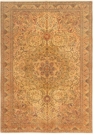 Bordered  Traditional Ivory Area rug 6x9 Turkish Hand-knotted 280897