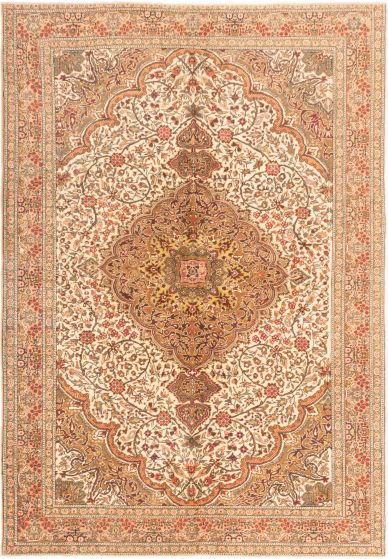 Bordered  Traditional Ivory Area rug 6x9 Turkish Hand-knotted 280906