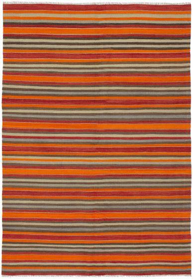 Bohemian  Stripes Orange Area rug 5x8 Turkish Flat-weave 292817