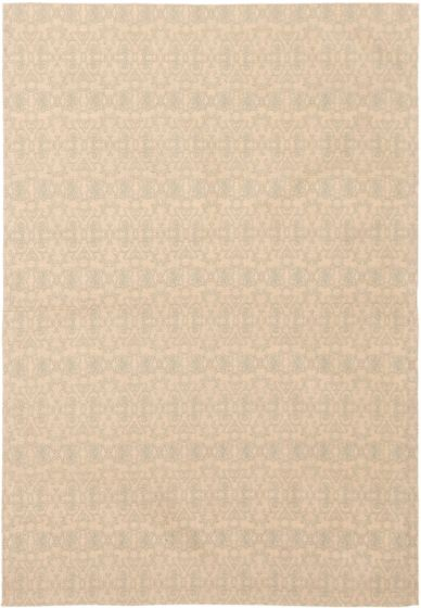 Casual  Transitional Ivory Area rug 5x8 Indian Handmade 306101