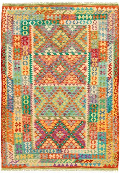 Bordered  Geometric Multi Area rug 6x9 Turkish Flat-weave 329871