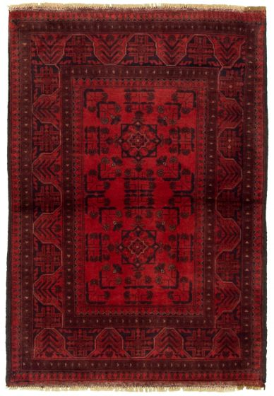 Bordered  Tribal Red Area rug 3x5 Afghan Hand-knotted 330280