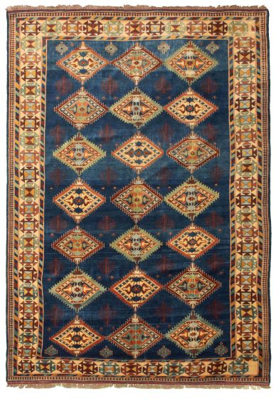 Bordered  Tribal Blue Area rug 6x9 Afghan Hand-knotted 331496