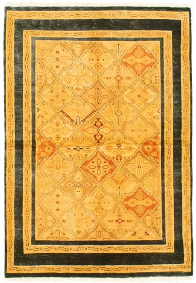 Bordered  Transitional Yellow Area rug 3x5 Pakistani Hand-knotted 331630