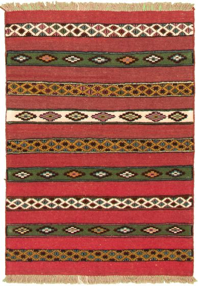 Carved  Tribal Red Area rug 3x5 Turkish Hand-knotted 334912