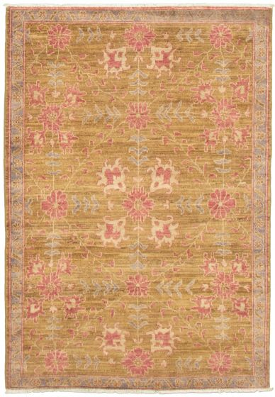 Floral  Transitional Green Area rug 3x5 Pakistani Hand-knotted 338998