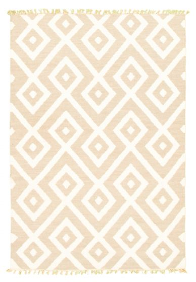 Flat-weaves & Kilims  Transitional Ivory Area rug 3x5 Indian Flat-weave 344487
