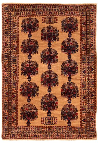 Bordered  Tribal Brown Area rug 6x9 Afghan Hand-knotted 348515