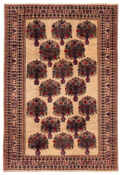 Bordered  Tribal Brown Area rug 6x9 Afghan Hand-knotted 357390