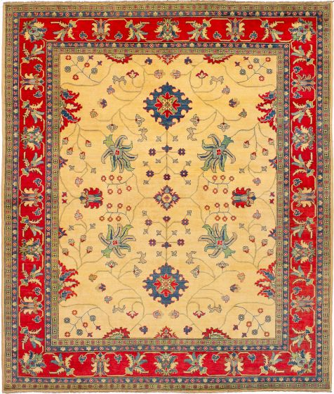 Bordered  Traditional Ivory Area rug 6x9 Afghan Hand-knotted 272468