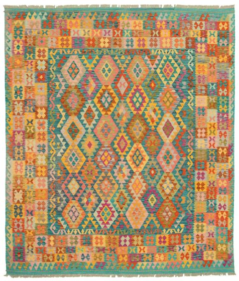Bohemian  Transitional Green Area rug 6x9 Turkish Flat-weave 336834