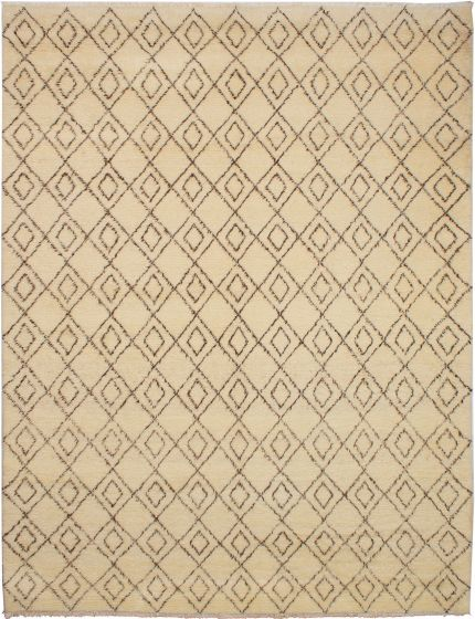 Moroccan  Transitional Ivory Area rug 9x12 Moroccan Hand-knotted 272179