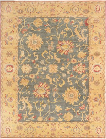 Bordered  Transitional Grey Area rug 9x12 Turkish Hand-knotted 280828