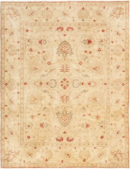Bordered  Transitional Yellow Area rug 6x9 Turkish Hand-knotted 281107