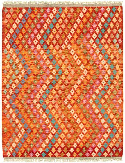 Flat-weaves & Kilims  Geometric Red Area rug 4x6 Turkish Flat-weave 330218