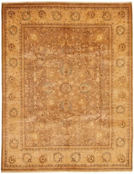 Bordered  Traditional Brown Area rug 6x9 Pakistani Hand-knotted 330637