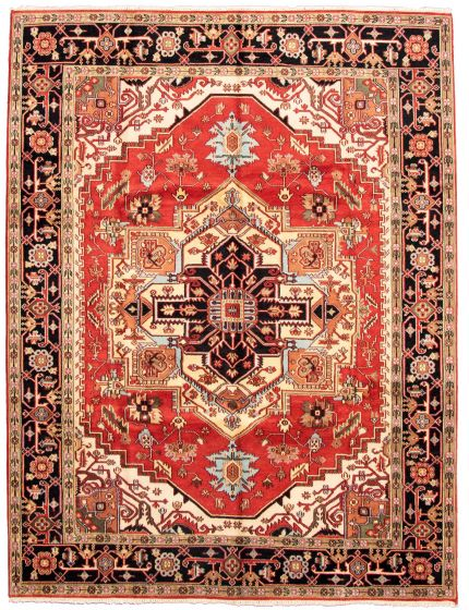 Bordered  Traditional Red Area rug 9x12 Indian Hand-knotted 331268