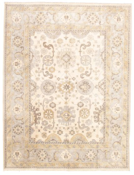 Bordered  Traditional Ivory Area rug 9x12 Indian Hand-knotted 331316
