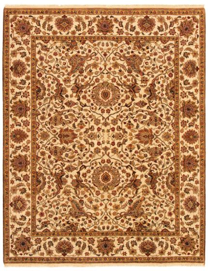 Bordered  Traditional Ivory Area rug 6x9 Indian Hand-knotted 335501